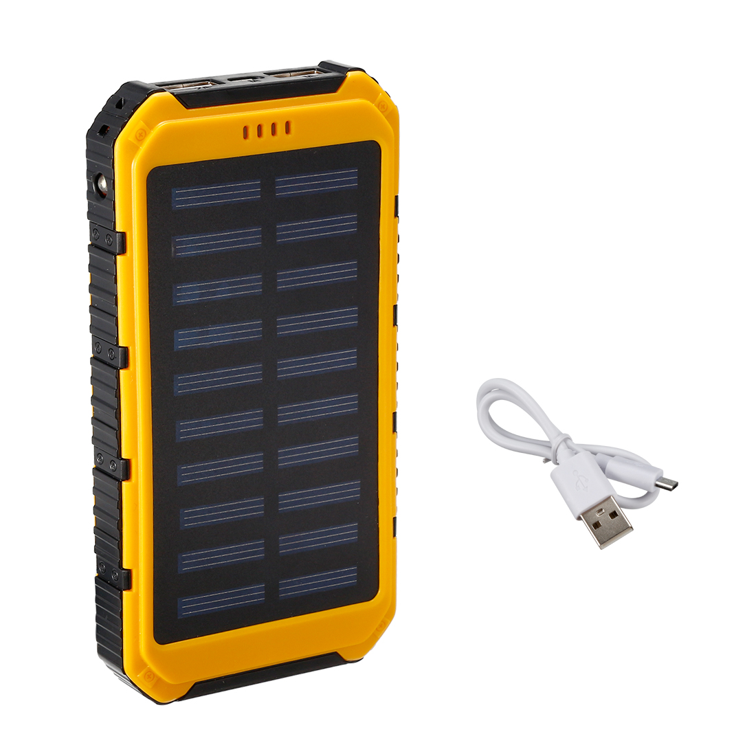 1.5W 8000mAh Solar Charger Dual USB Power Bank Phone Battery Flashlight Yellow