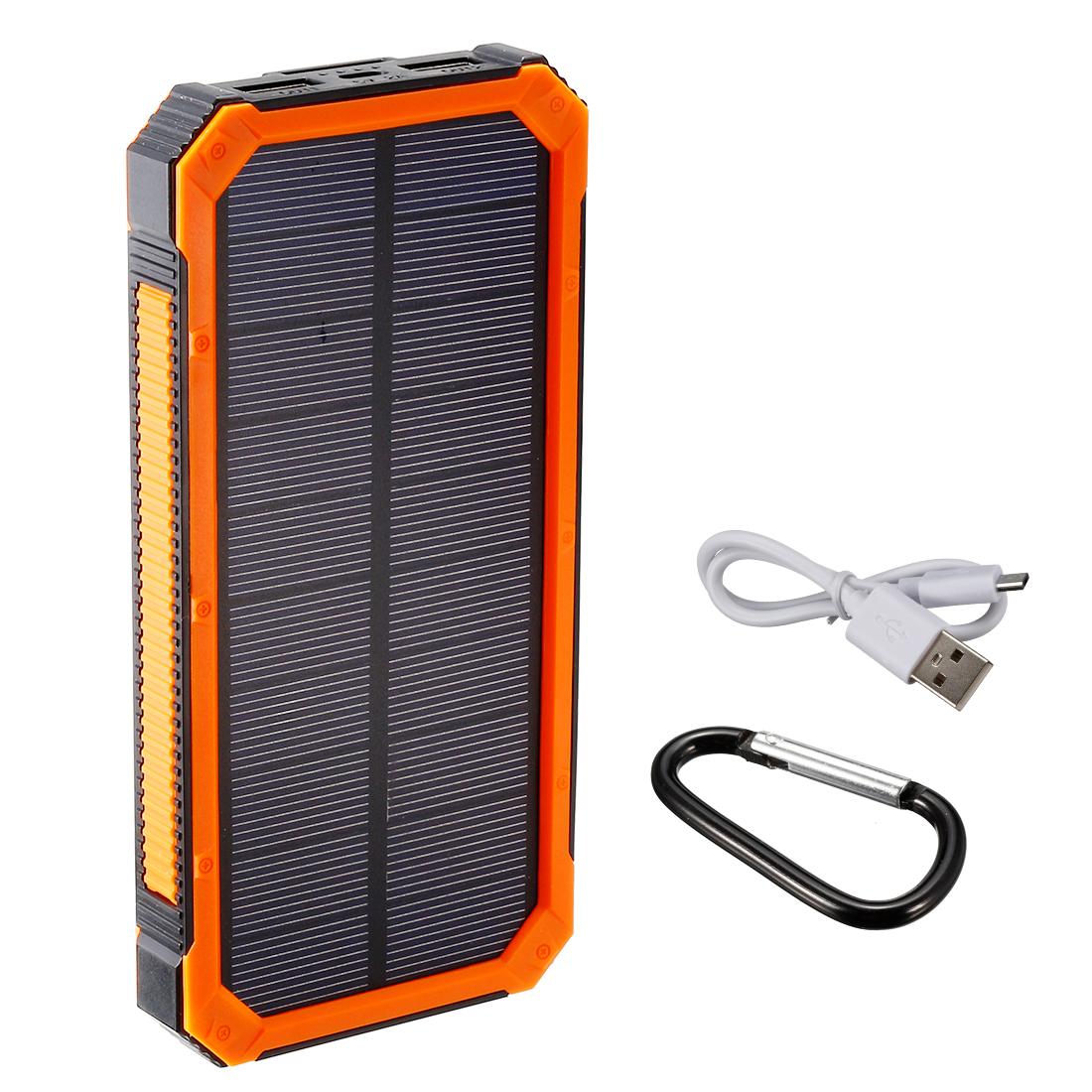1.5W 10000mAh Solar Charger Dual USB Power Bank Flashlight Orange