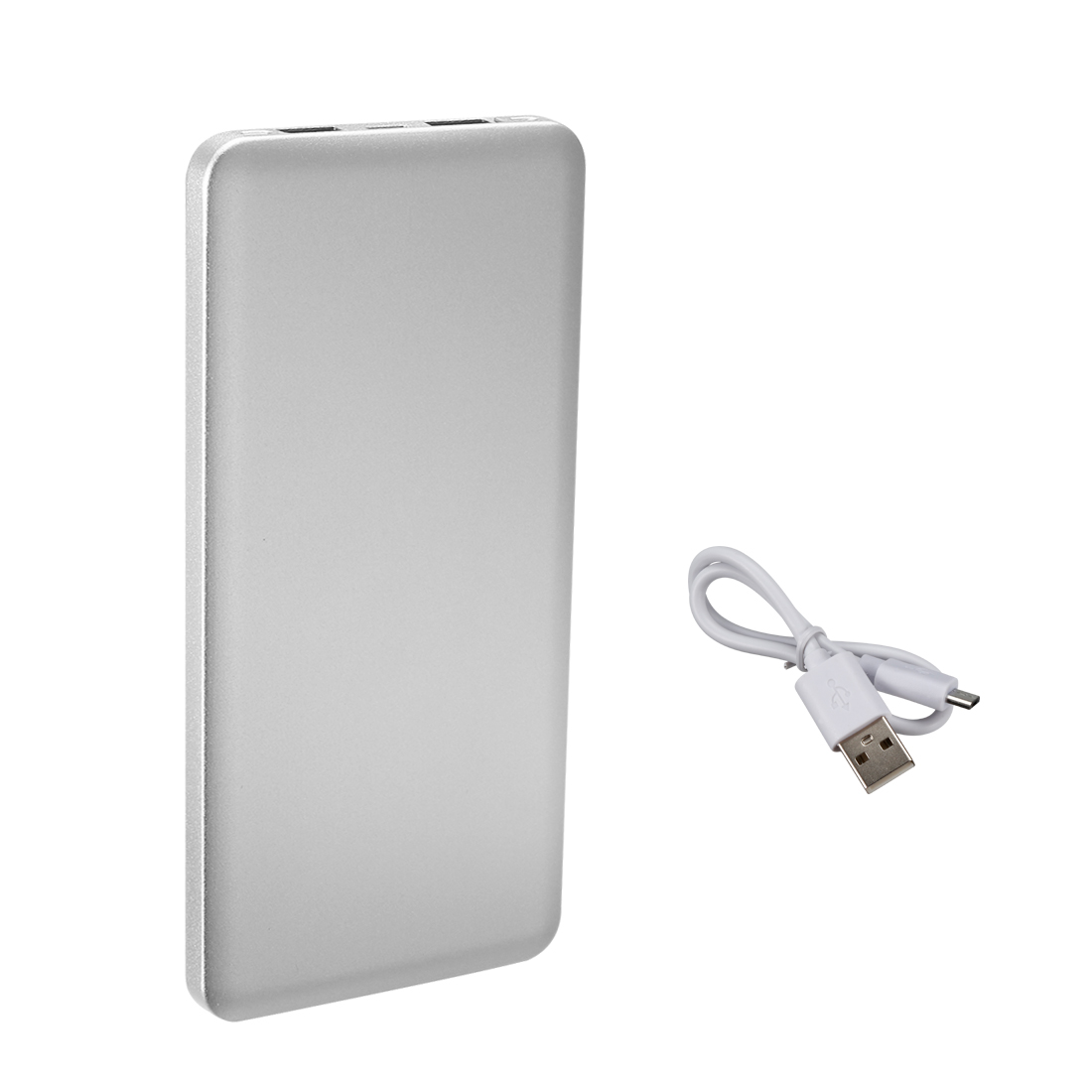 6000mAh Portable Charger Dual USB Power Bank Phone Battery Silver Tone
