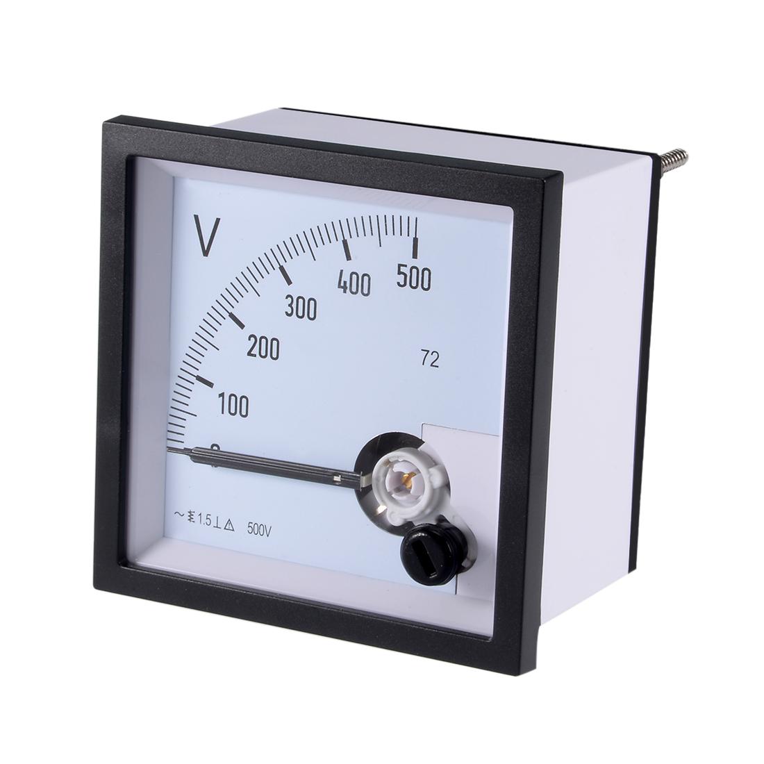AC 0-500V Analog Panel Voltage Gauge Volt Meter 72 1.5% Error Margin