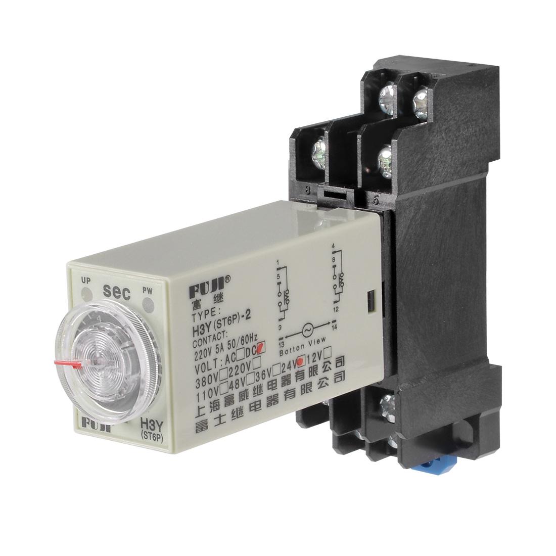 24VDC 10S 8 Terminals Range Adjustable Delay Timer Time Relay H3Y-2 w base
