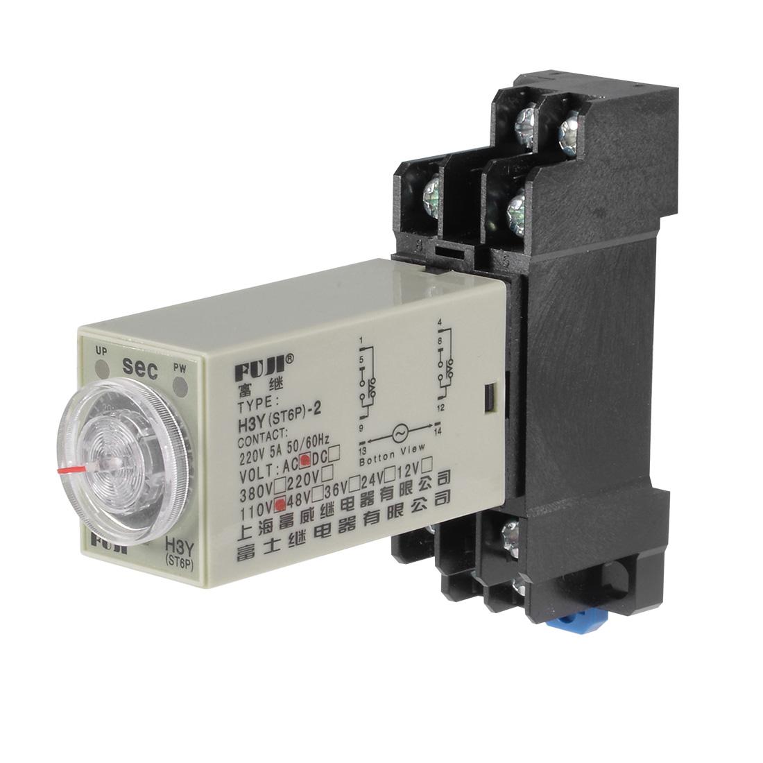 110VAC 60S 8 Terminals Range Adjustable Delay Timer Time Relay H3Y-2 w base