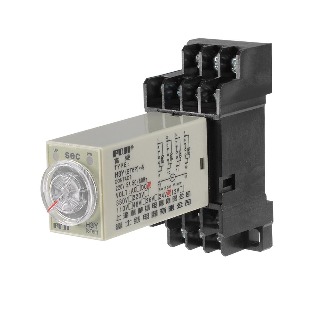 24VDC 60S 14 Terminals Range Adjustable Delay Timer Time Relay H3Y-4 w base