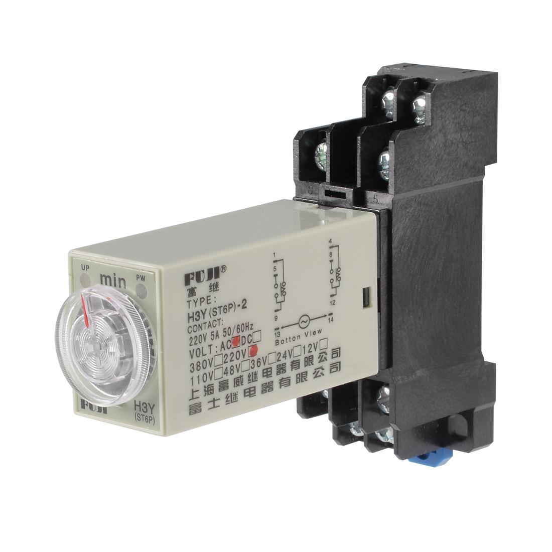 220VAC 60M 8 Terminals Range Adjustable Delay Timer Time Relay H3Y-2 w base