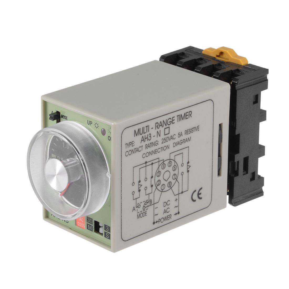 AC220V 3S-30M 8 Terminals Range Adjustable Delay Timer Time Relay AH3-NB w base