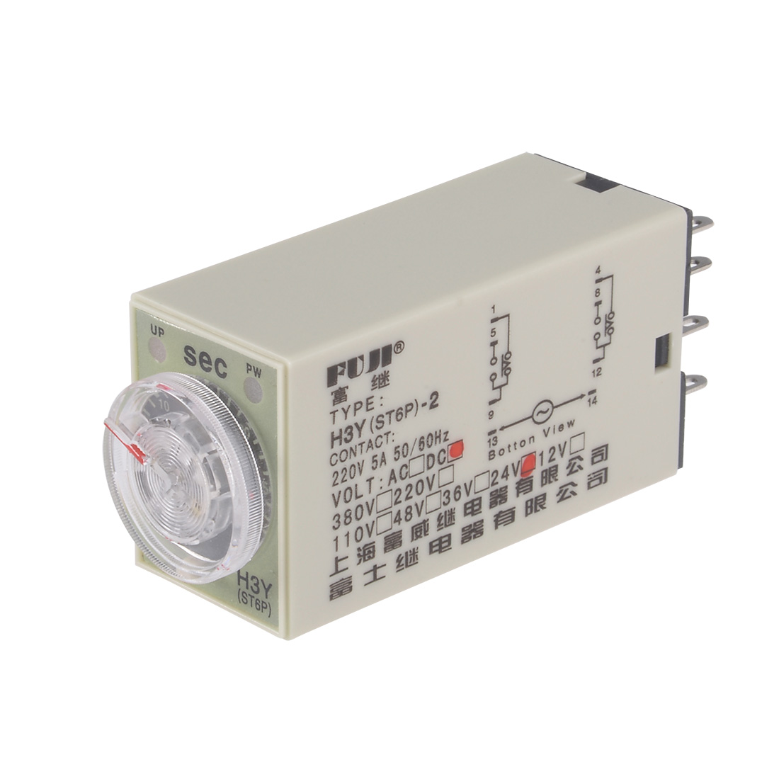 24VDC 30S 8 Terminals Range Adjustable Delay Timer Time Relay H3Y(ST6P)-2