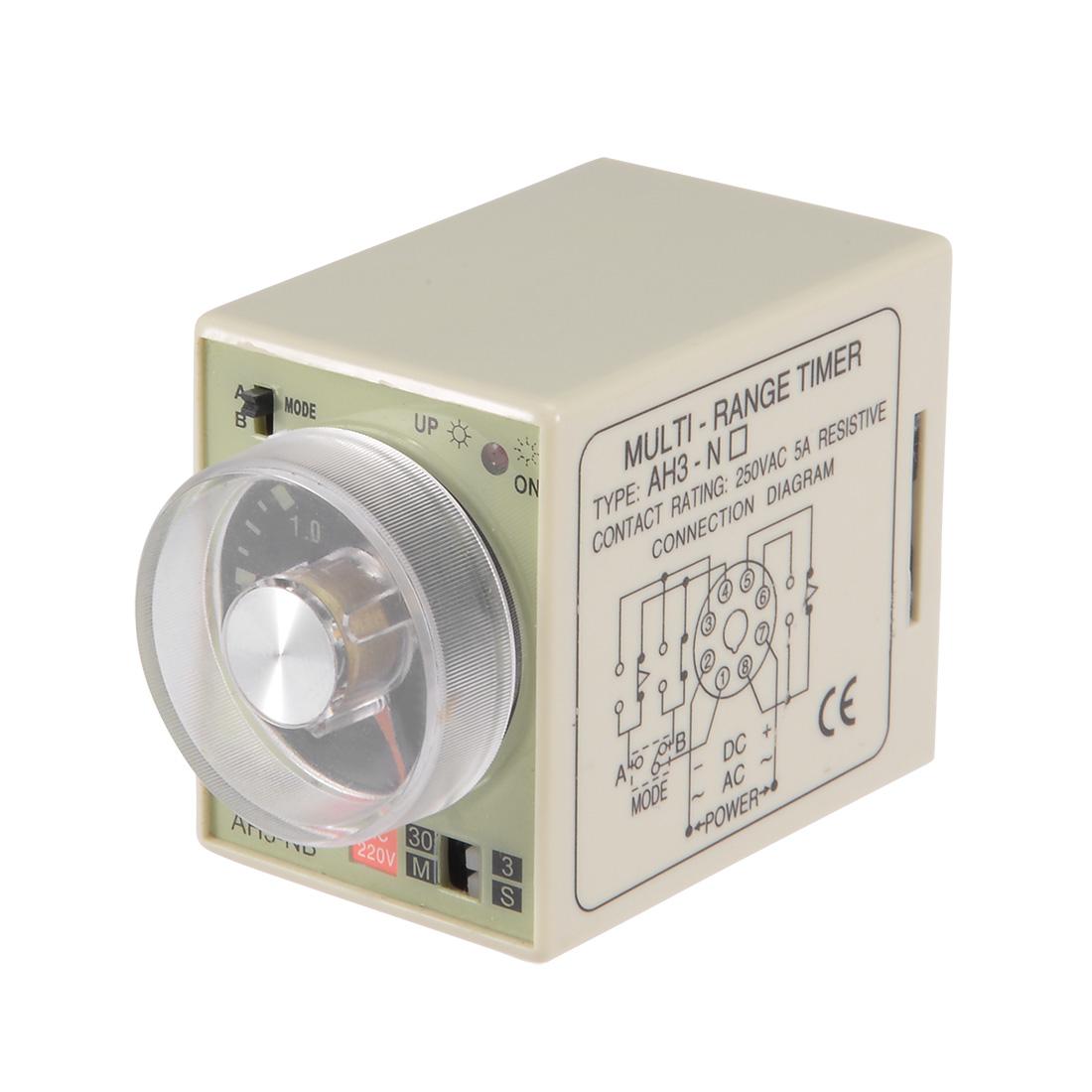 AC220V 3S-30M 8 Terminals Range Adjustable Delay Timer Time Relay AH3-NB