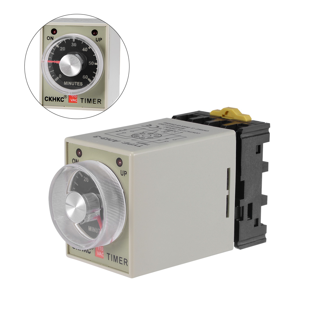 AC110V 60M 8 Terminals Range Adjustable Delay Timer Time Relay AH3-3