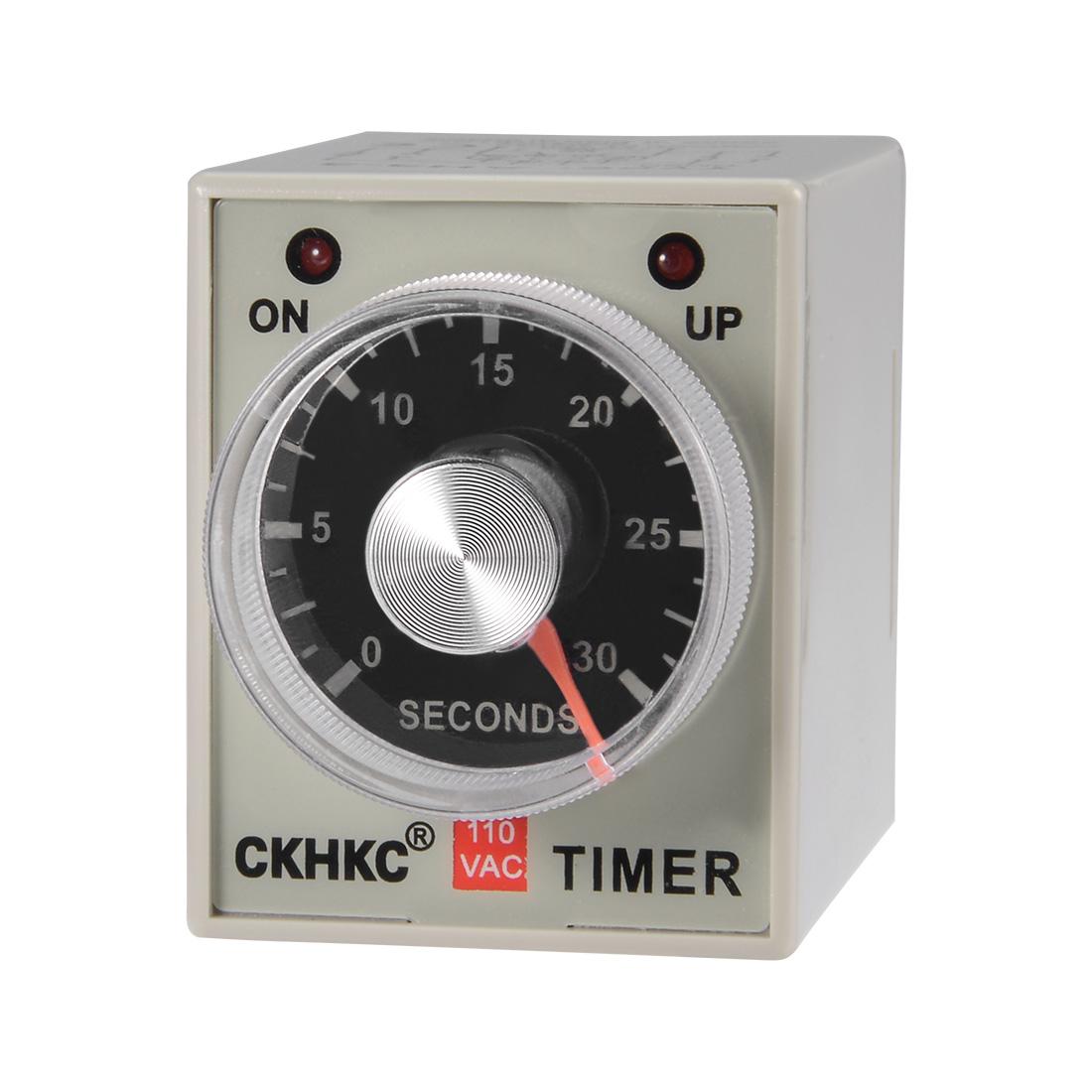 AC110V 30S 8 Terminals Range Adjustable Delay Timer Time Relay AH3-3