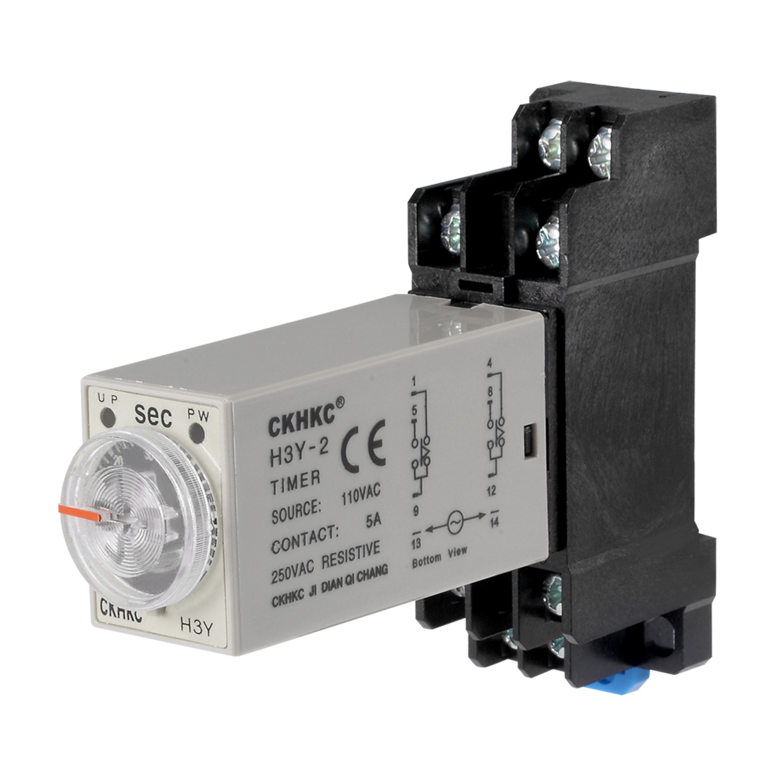 AC110V 60S 8 Terminals Range Adjustable Delay Timer Time Relay H3Y-2 w base