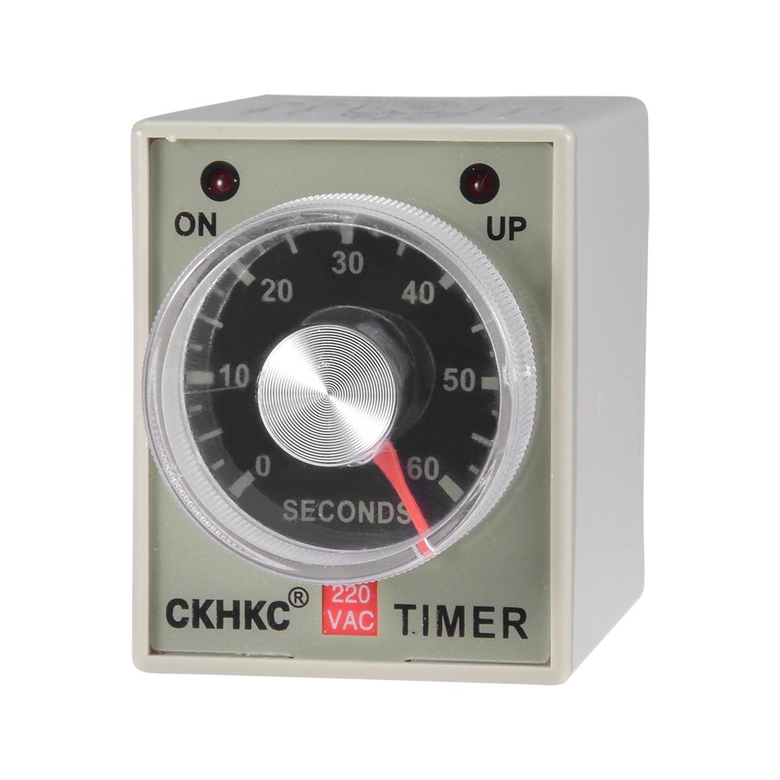 AC220V 60S Time Range 8 Terminals Adjustable Delay Timer Time Relay AH3-3