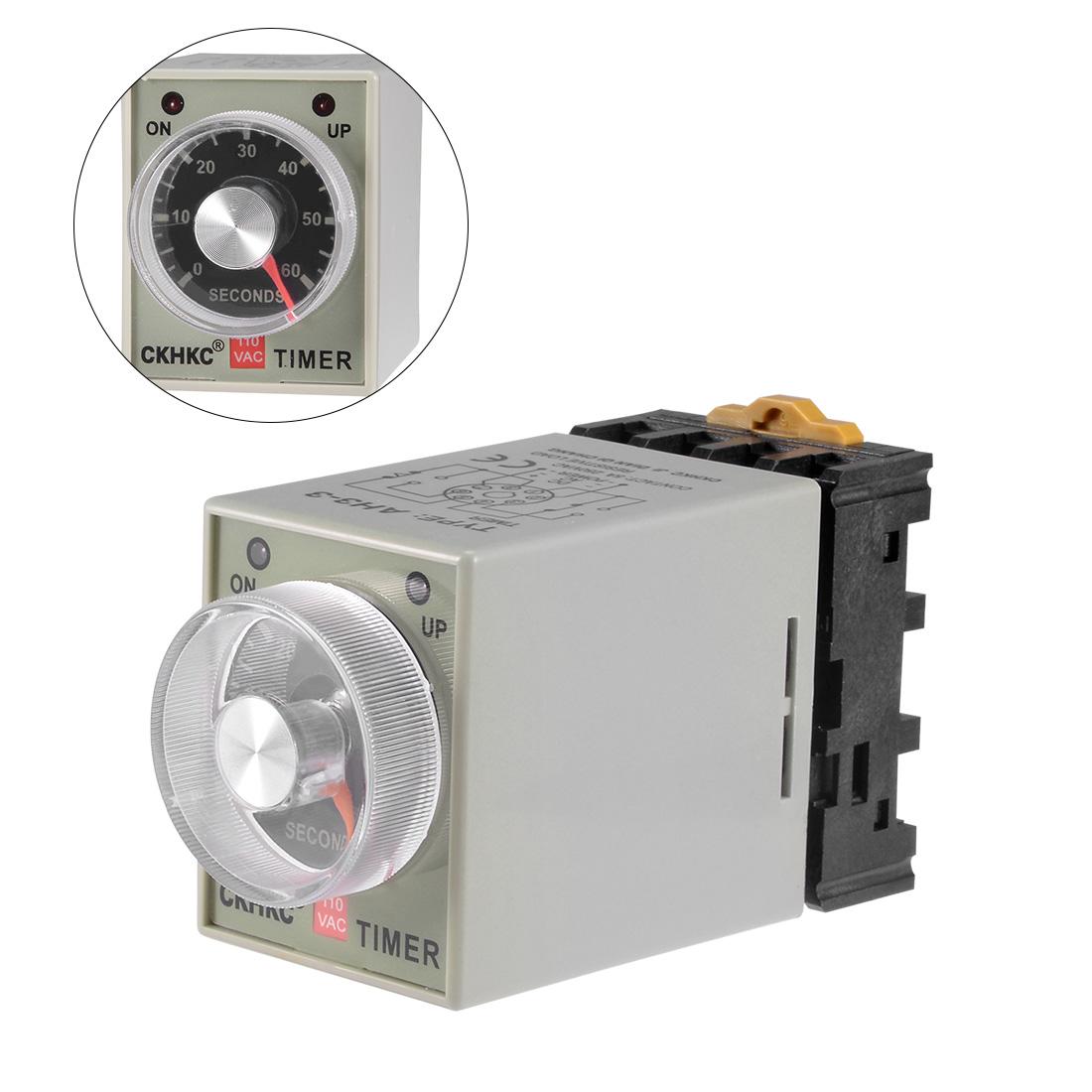 AC110V 60S 8 Terminals Range Adjustable Delay Timer Time Relay AH3-3