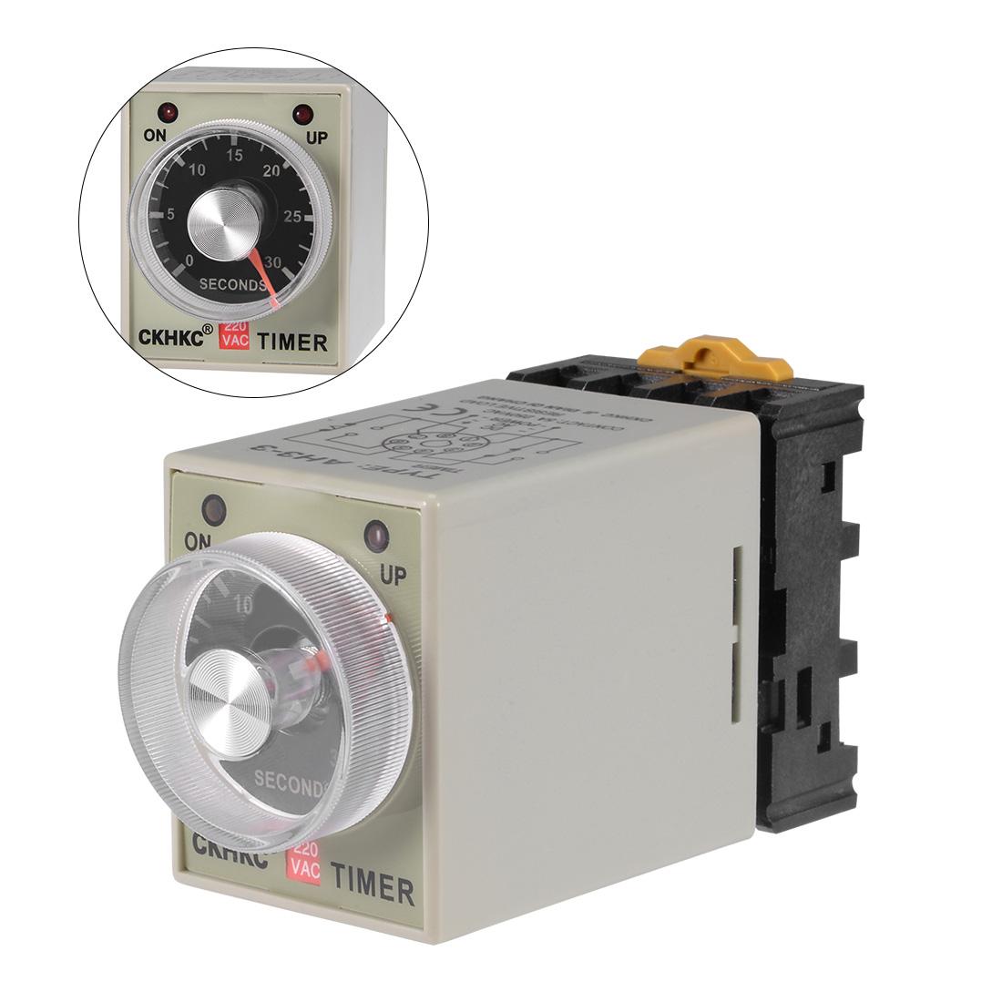 AC220V 30S 8 Terminals Range Adjustable Delay Timer Time Relay AH3-3 w base