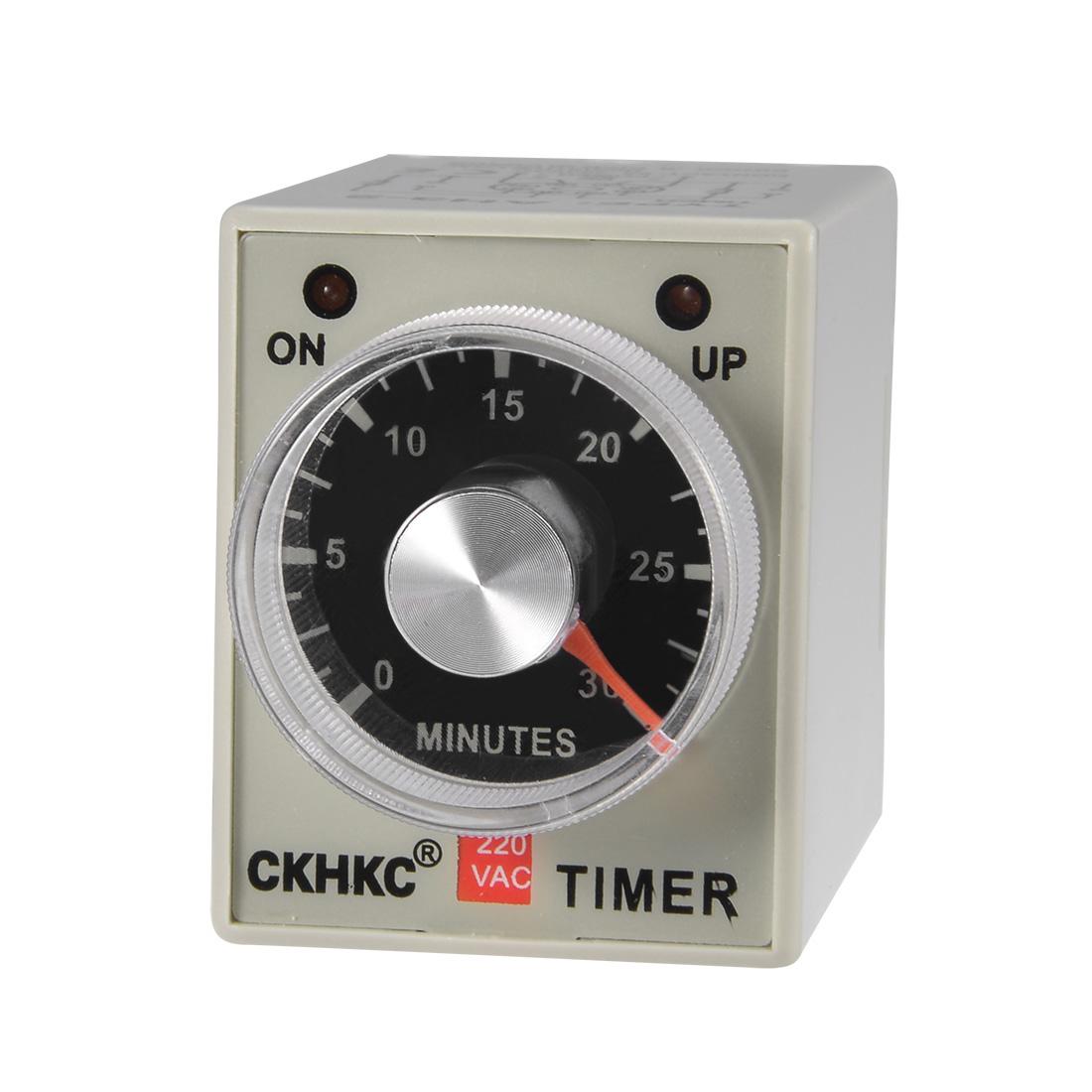 AC220V 30M 8 Terminals Range Adjustable Delay Timer Time Relay AH3-3