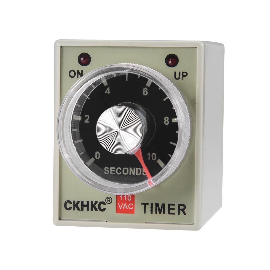 AC110V 10S 8 Terminals Range Adjustable Delay Timer Time Relay AH3-3