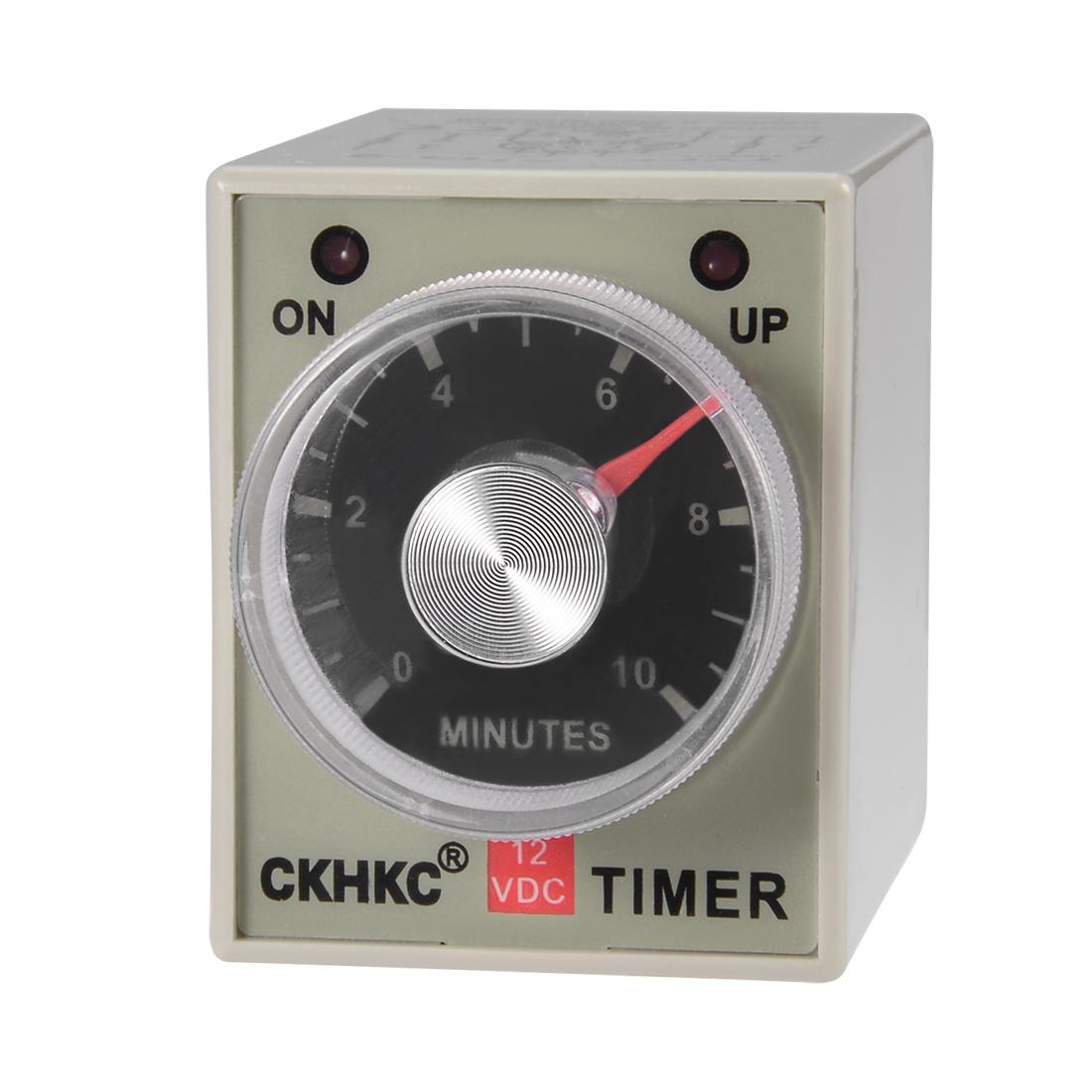 DC12V 10M 8 Terminals Adjustable Delay Timer Time Relay AH3-3