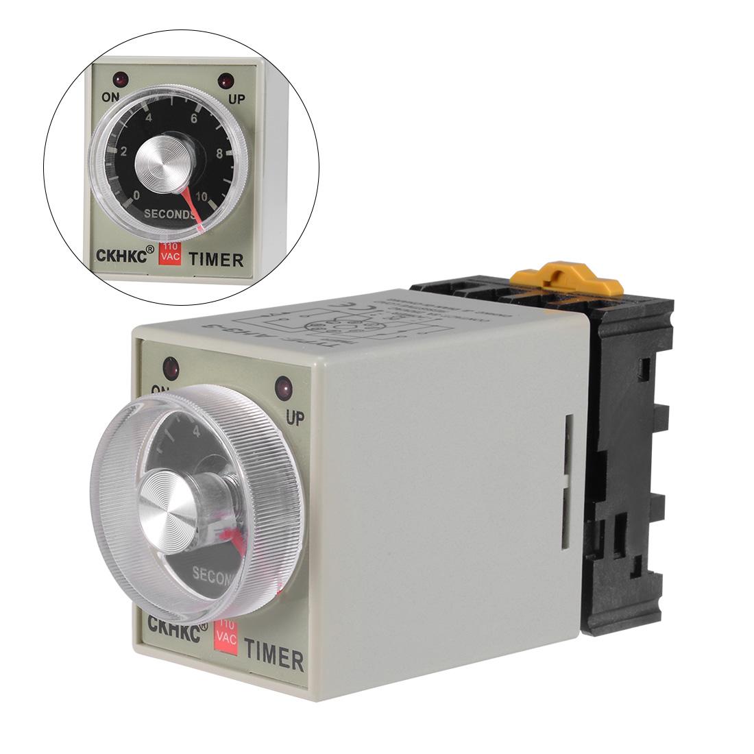 AC110V 10S 8 Terminals Range Adjustable Delay Timer Time Relay AH3-3 w base