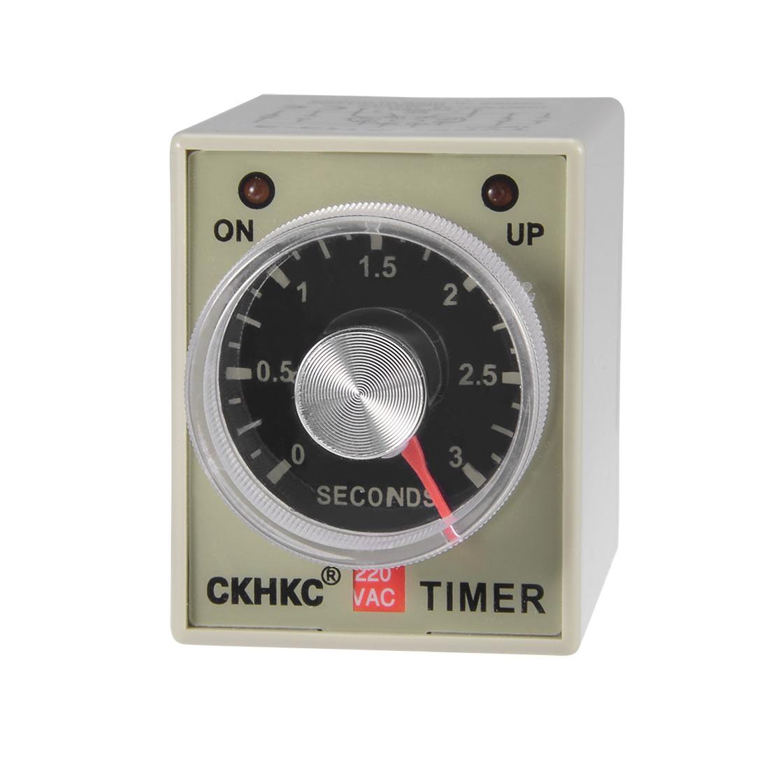 AC220V 3S 8 Terminals Range Adjustable Delay Timer Time Relay AH3-2