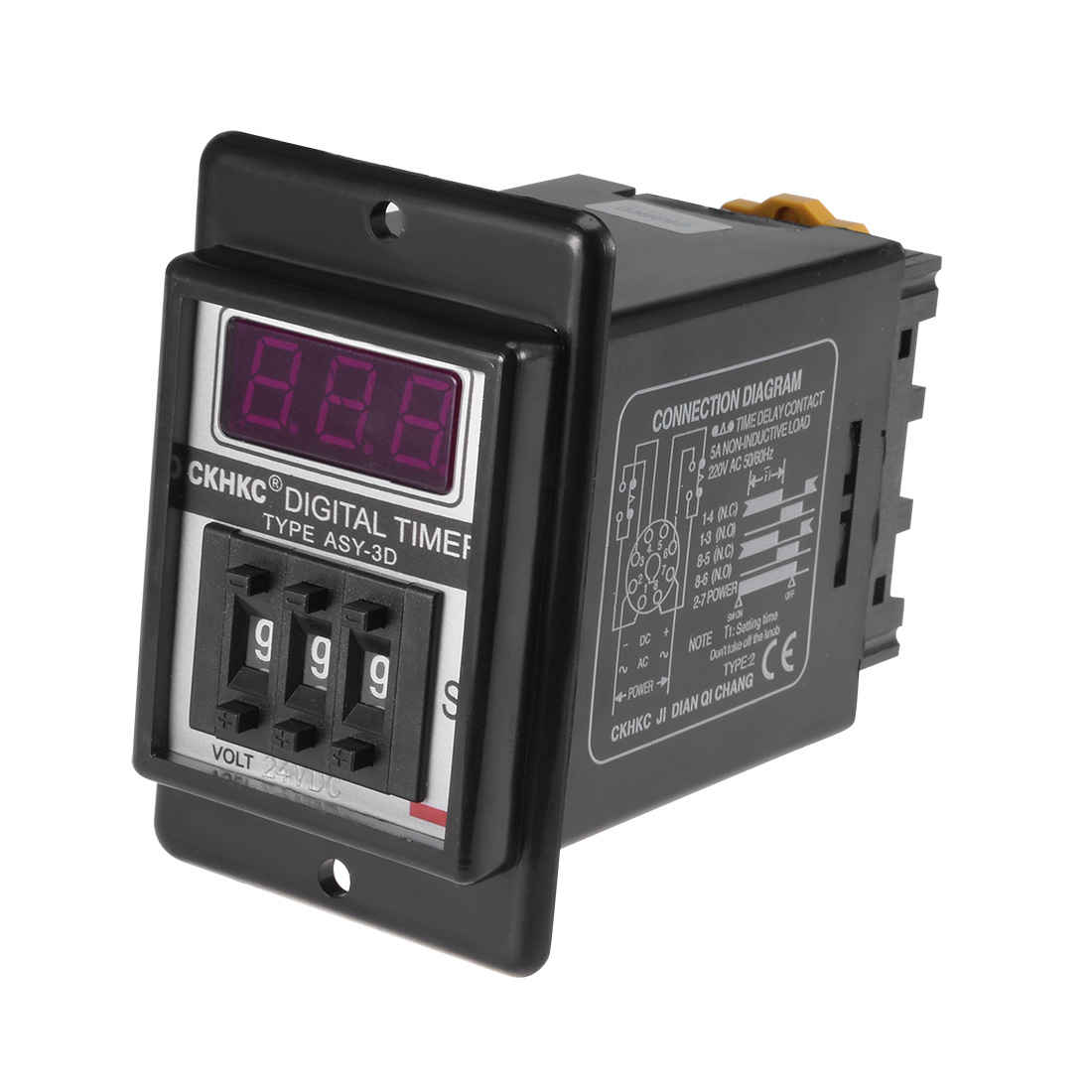 DC24V 999S 8 Terminals Range Adjustable Delay Timer Time Relay ASY