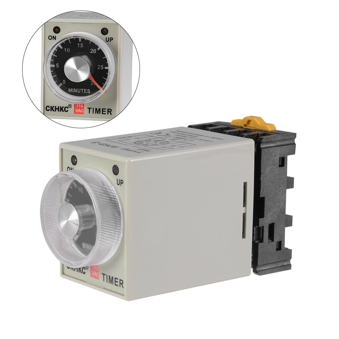 AC110V 30M 8 Terminals Range Adjustable Delay Timer Time Relay AH3-3 w base3