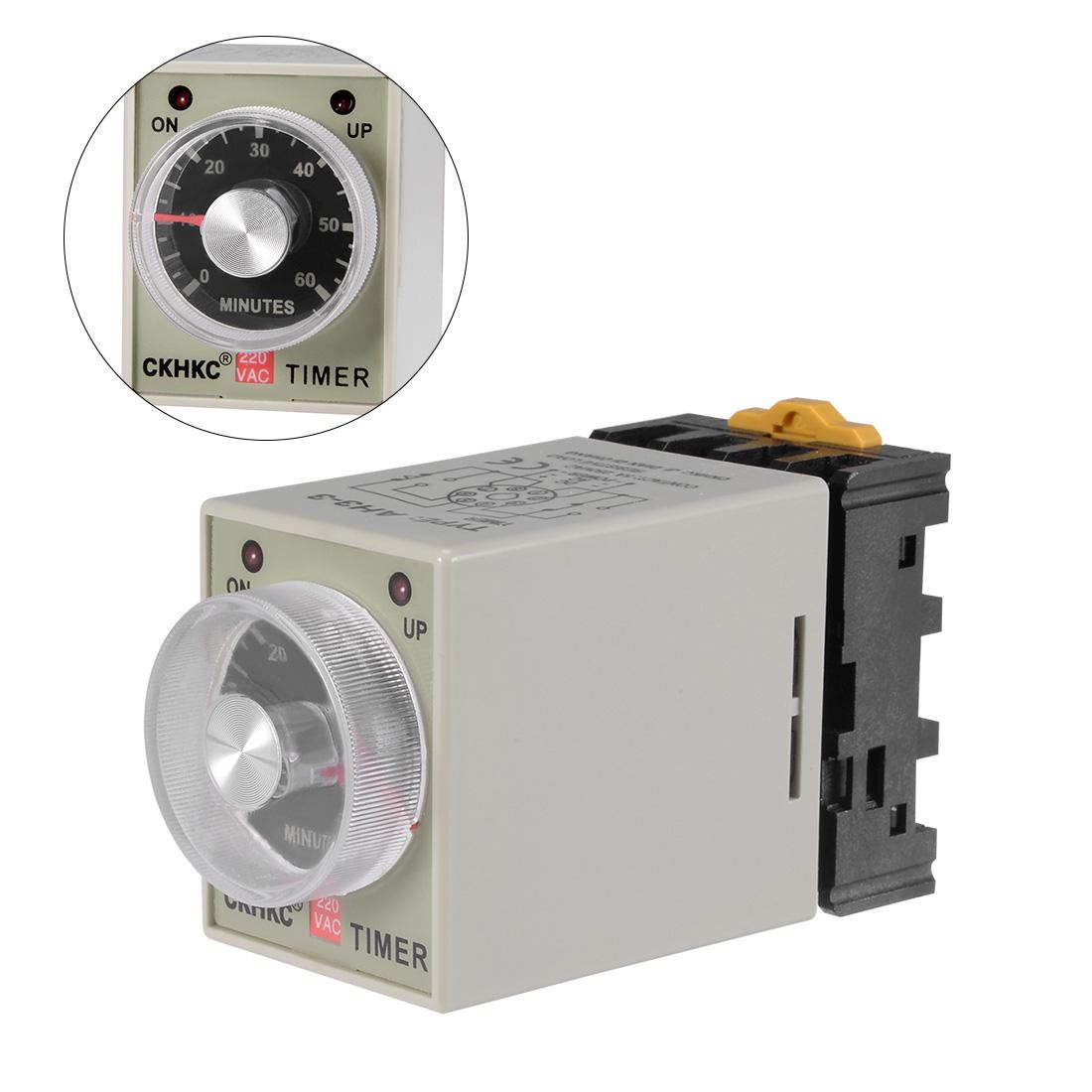 AC220V 60M 8 Terminals Range Adjustable Delay Timer Time Relay AH3-3 w base