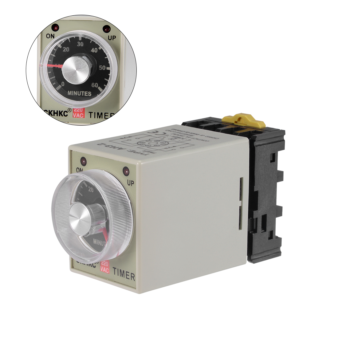 AC220V 60M 8 Terminals Range Adjustable Delay Timer Time Relay AH3-2