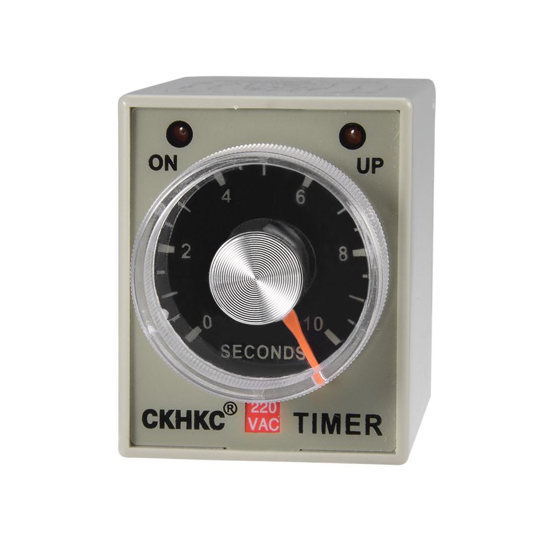 AC220V 10S 8 Terminals Range Adjustable Delay Timer Time Relay AH3-3