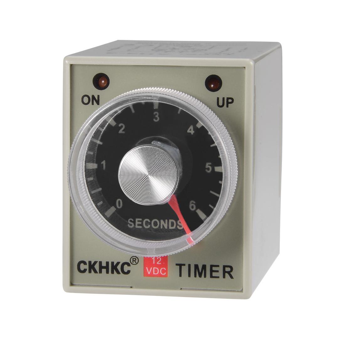 DC12V 6S 8 Terminals Range Adjustable Delay Timer Time Relay AH3-3