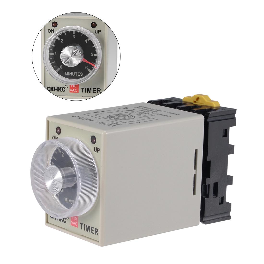AC110V 6M 8 Terminals Range Adjustable Delay Timer Time Relay AH3-3 w base