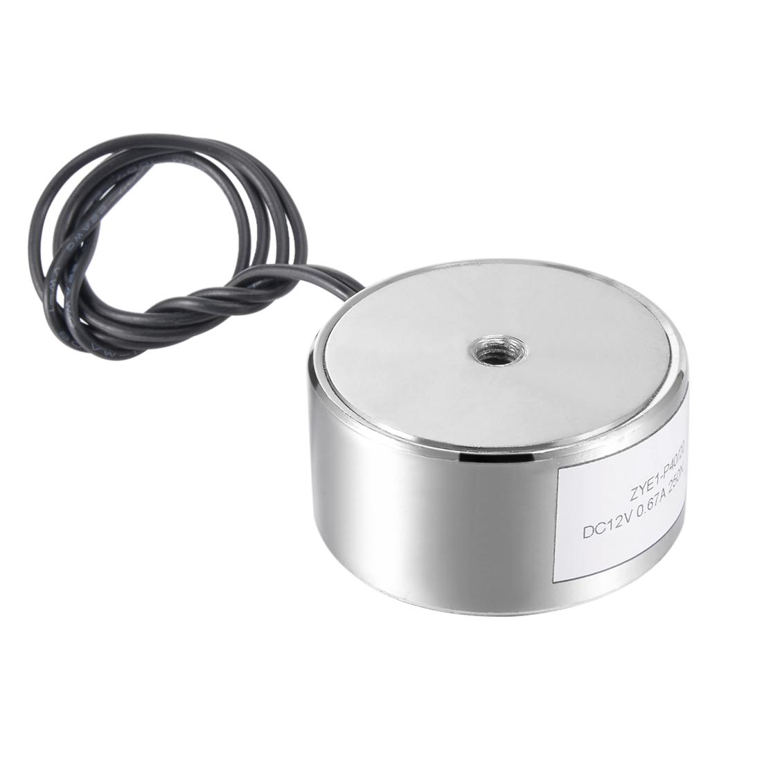 40mm x 20mm DC12V 0.67A 250N Sucking Disc Solenoid Lift Holding Electromagnet