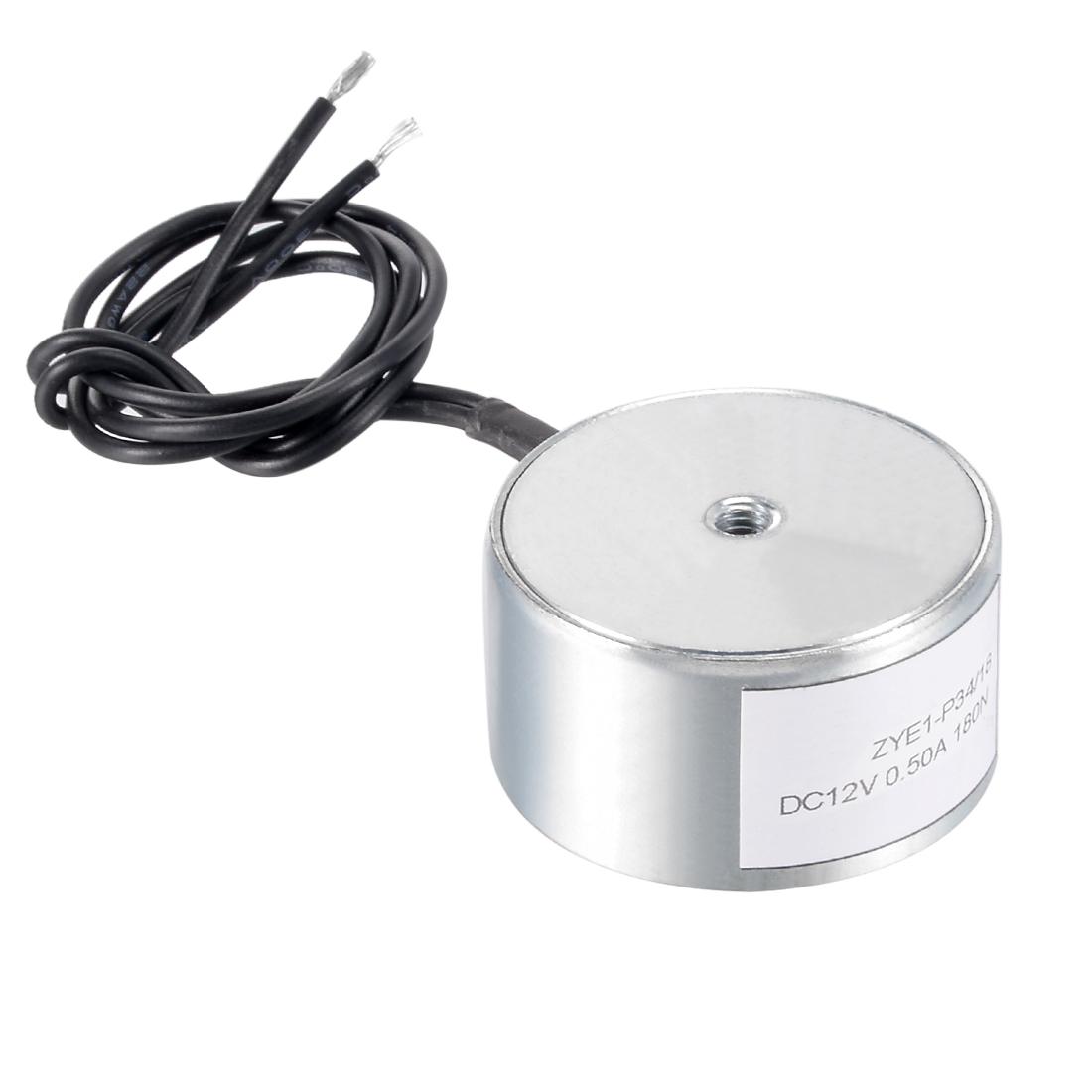 34mm x 18mm DC12V 0.5A 180N Sucking Disc Solenoid Lift Holding Electromagnet