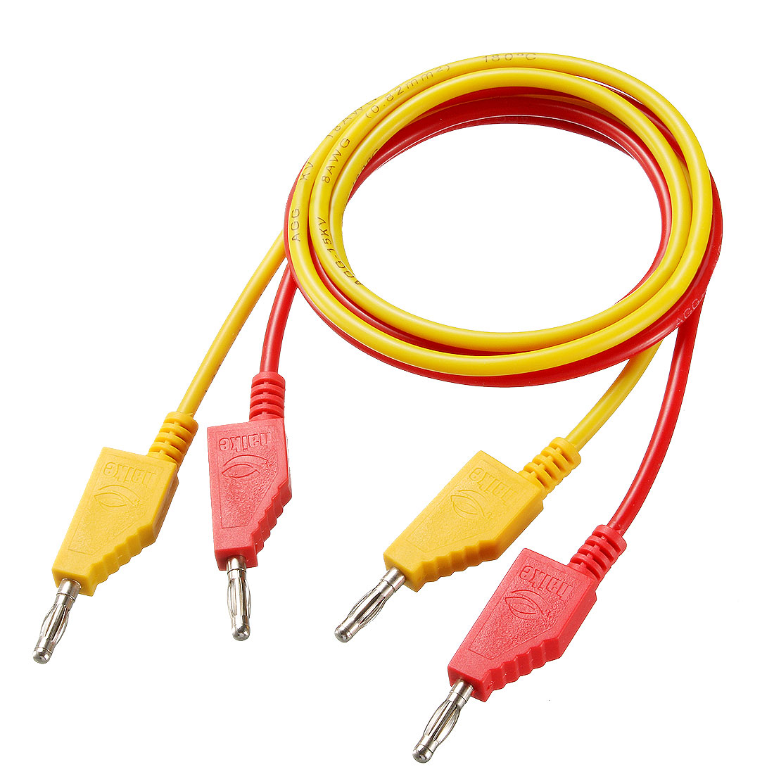 1 Pair 4mm Banana Plug Male to Male 18AWG 10A 100cmExtenders Red and Yellow