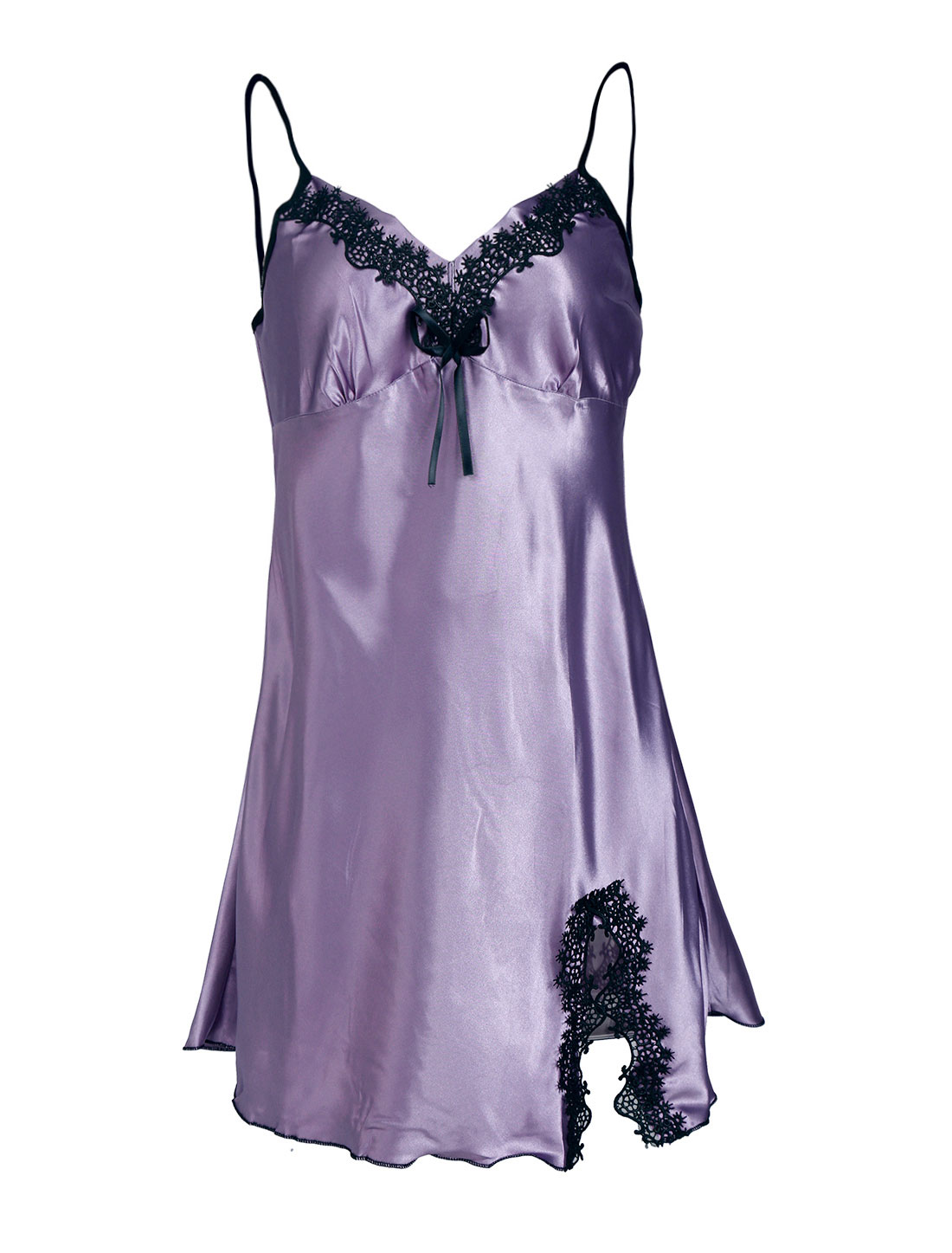 Women Satin Lace Trim Sleepwear Nightgown Pajama Slip Dress Lavender-Lace M