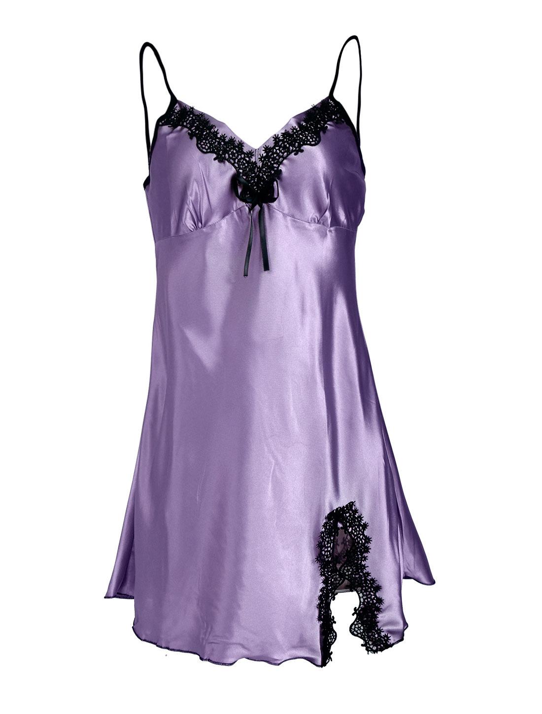Women Satin Lace Trim Sleepwear Nightgown Pajama Slip Dress Lavender-Lace L