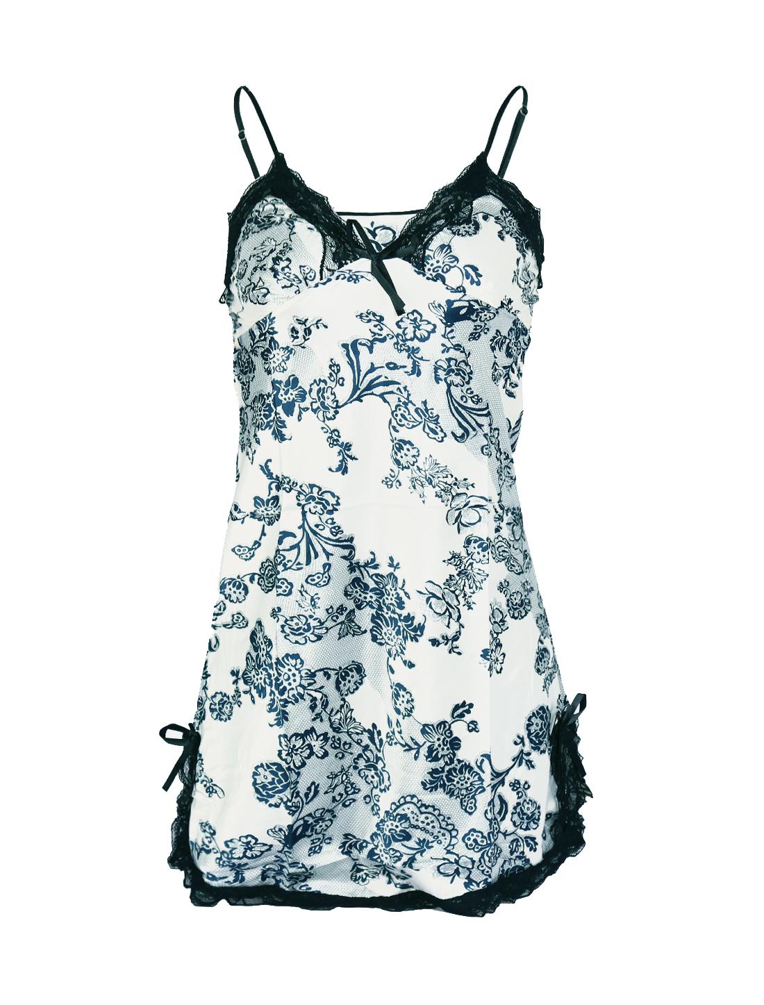 Women Satin Lace Trim Sleepwear Nightgown Pajama Slip Dress Floral-Lace L