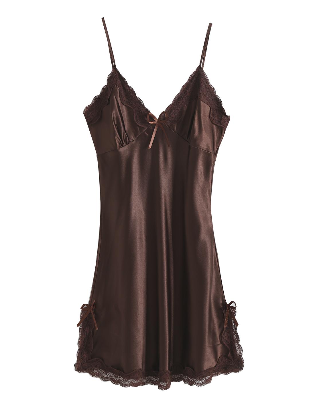 Women Satin Lace Trim Sleepwear Nightgown Pajama Slip Dress Coffee-Lace M