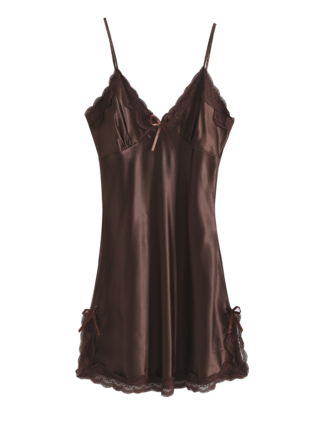 Women Satin Lace Trim Sleepwear Nightgown Pajama Slip Dress Coffee-Lace L
