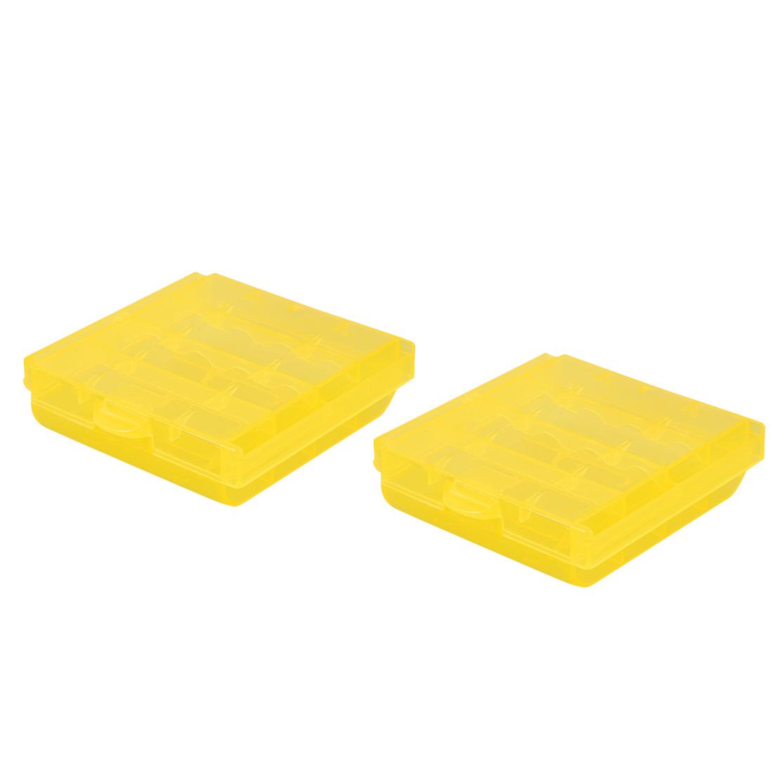 2 Pcs Battery Storage Case Holder Yellow 4AA or 4AAA Battery Capacity