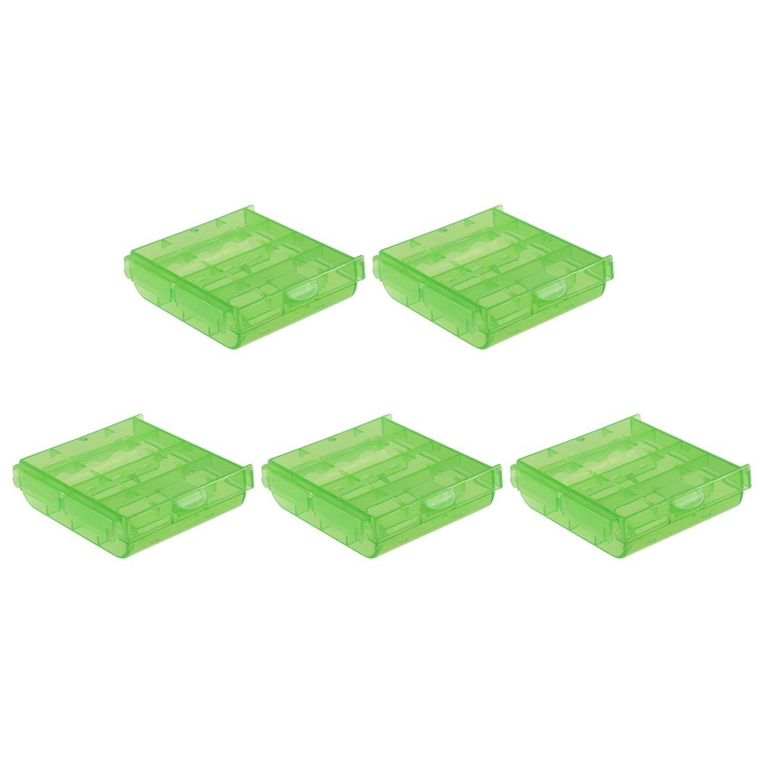 5 Pcs Battery Storage Case Holder Green 4AA or 4AAA Battery Capacity