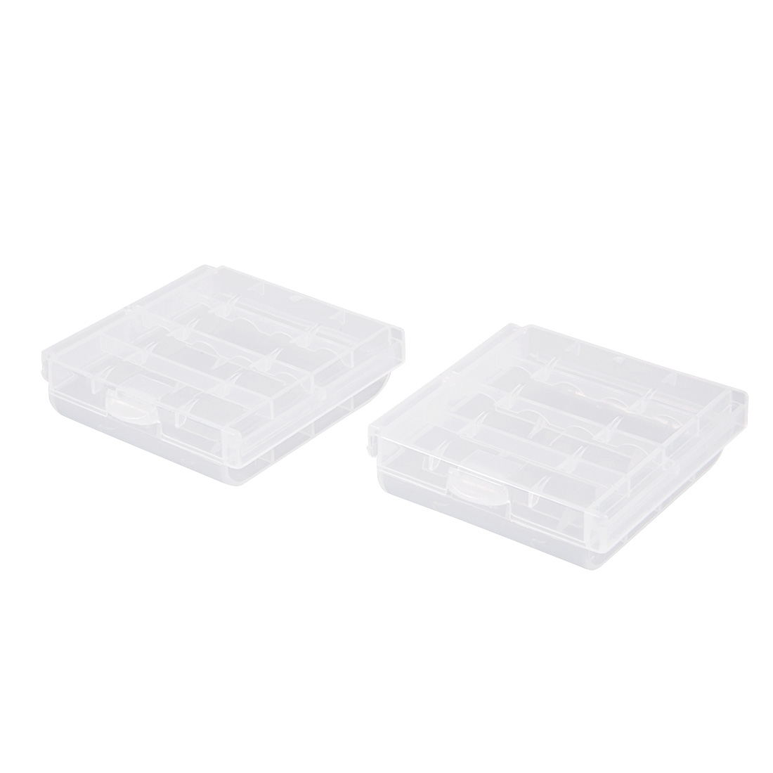 2 Pcs Battery Storage Cases Holder Transparent 4AA or 4AAA Battery Capacity