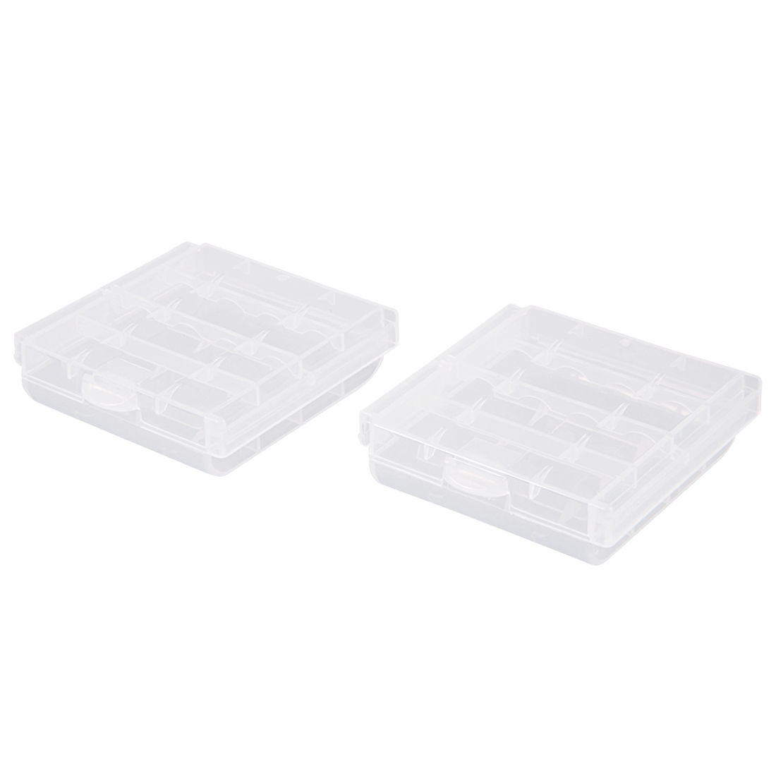 2 Pcs Battery Storage Cases Holder Clear 4AA Battery Capacity