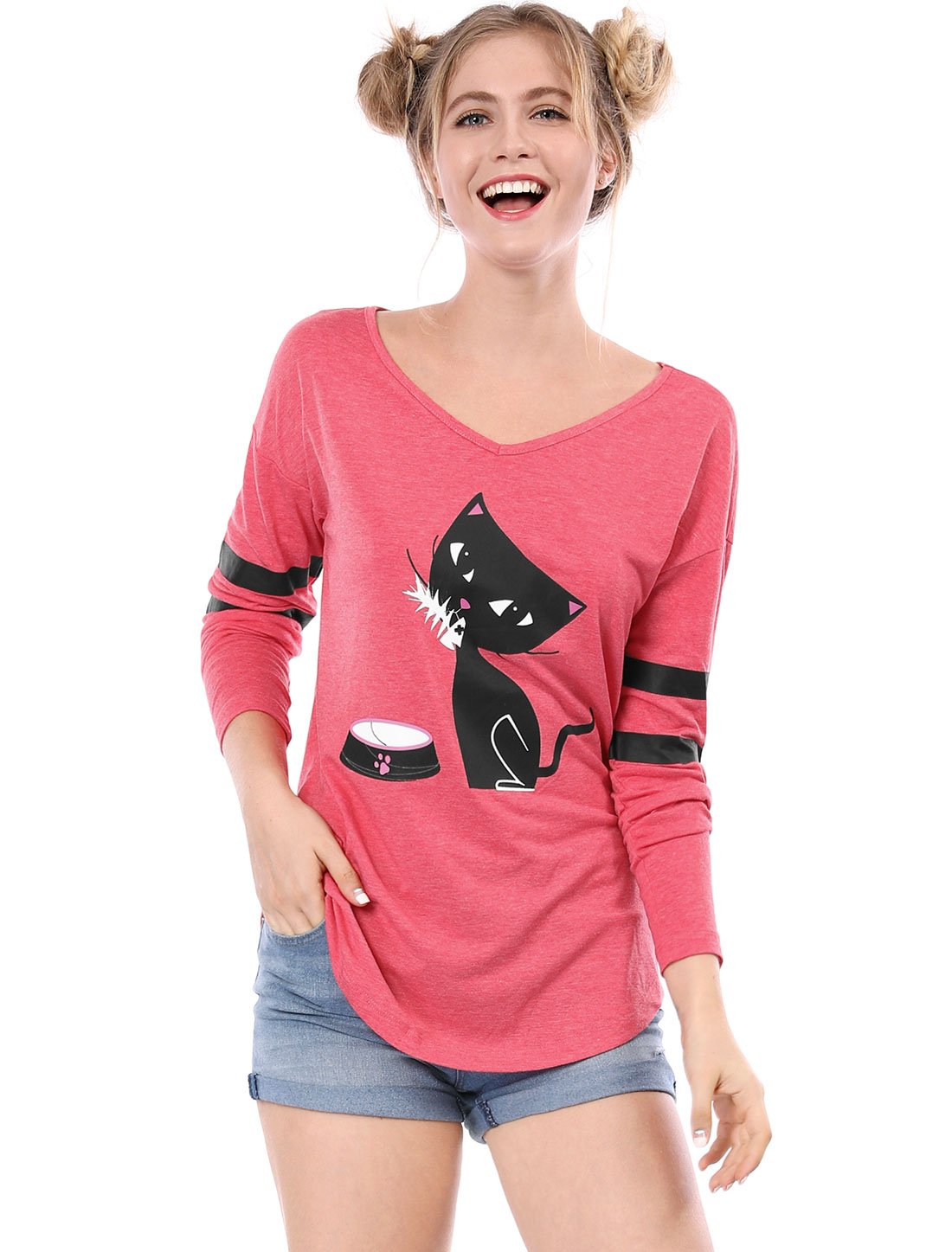 Allegra K Women V Neck Drop Shoulder Striped Cat Print Tunic Top Red1 XS