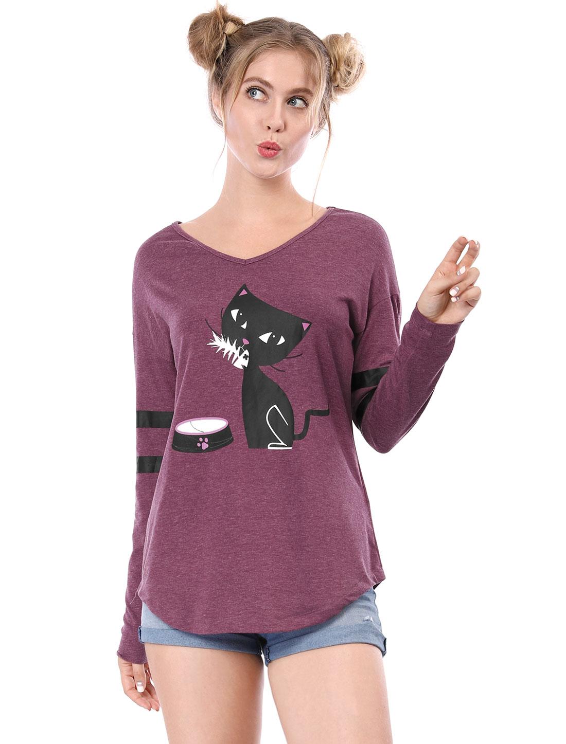 Allegra K Women V Neck Drop Shoulder Striped Cat Print Tunic Top Purple1 XS