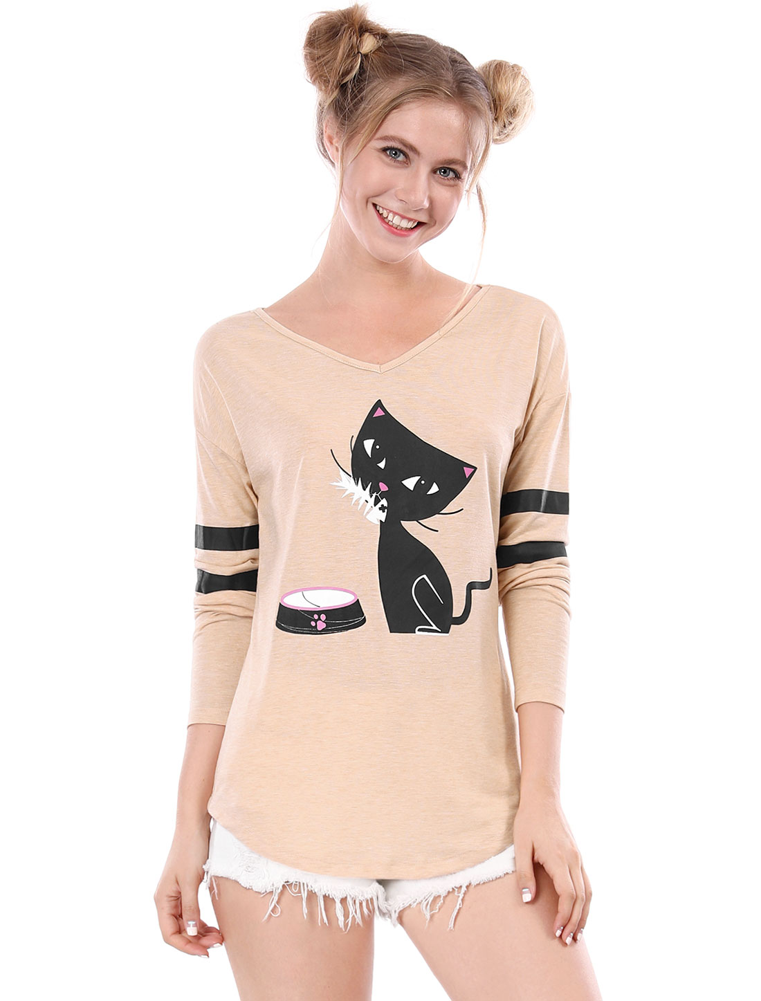 Allegra K Women V Neck Drop Shoulder Striped Cat Print Tunic Top Beige1 XS