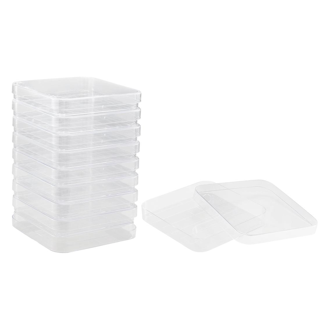 Plastic Square Integrid Petri Dish Plates, 100mm x 100mm, 17mm Height, 10 Pack