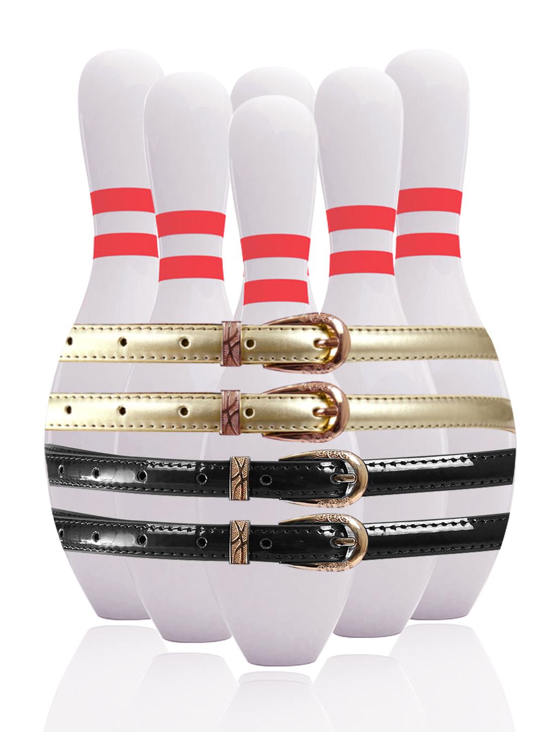 Women Single Pin Buckle Slim Patent PU Waist Belt 4 pcs Black+Gold