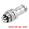 Aviation Connector, 16mm 9P 4A 125V GX16-9 Waterproof Male Wire Panel Power Chassis Metal Fittings Connector Aviation Silver Tone