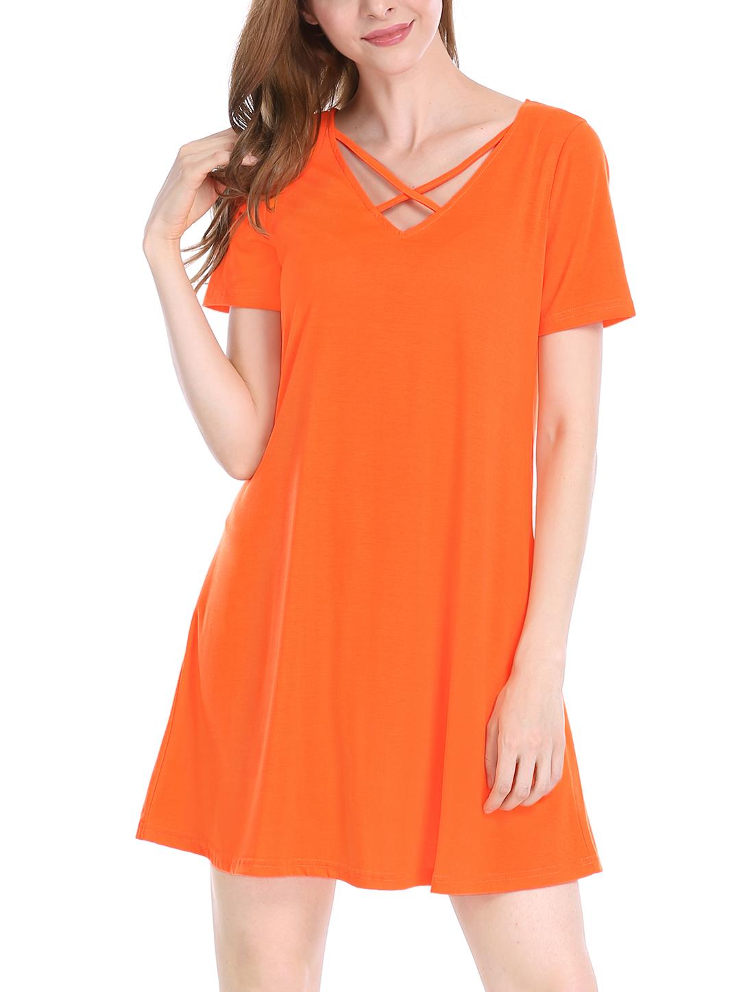 Allegra K Women Cross Strap V Neck Short Sleeves Above Knee Dress Orange M
