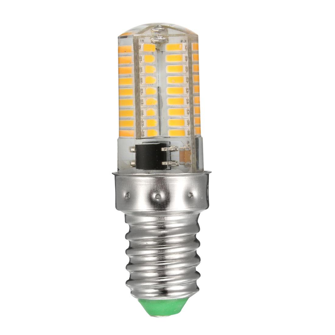 E14 Base LED Bulb 3W AC200-240V 72x3014SMD Silicone Corn Light Bulb Warm White
