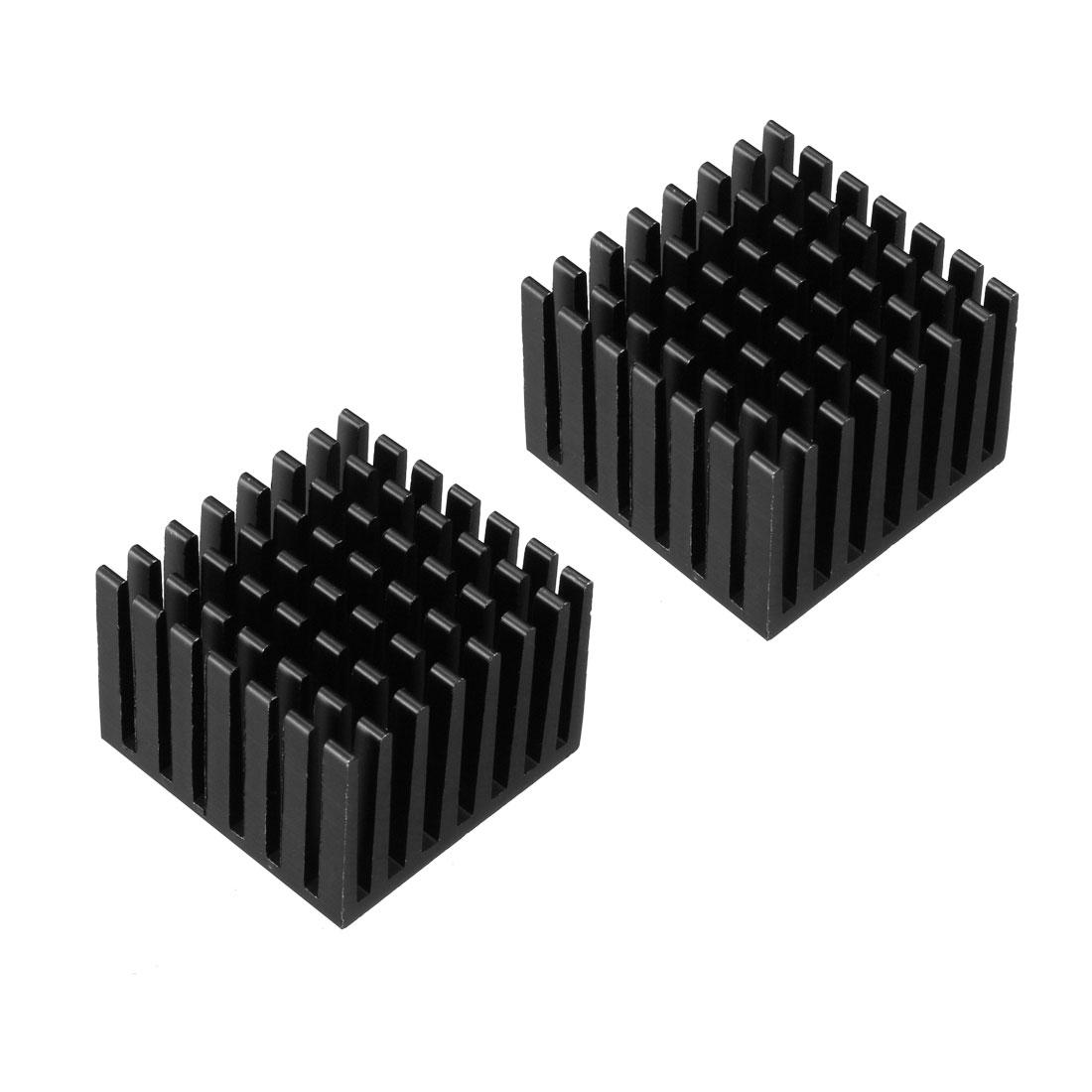 Aluminum Heatsink Cooler Circuit Board Cooling Fin Black 28mmx28mmx20mm 2Pcs